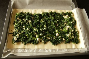 spinach filling on puff pastry