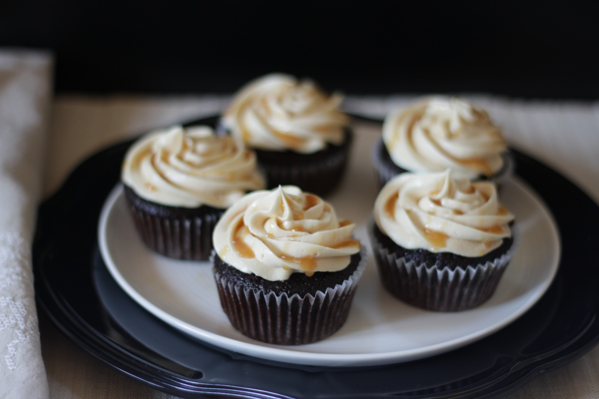 Dark Chocolate Espresso Cupcakes with Salted Caramel Buttercream