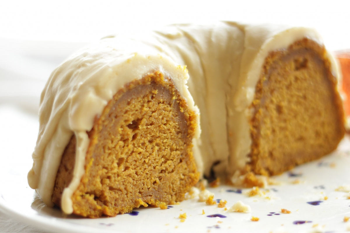 Pumpkin Bundt Cake with Caramel Glaze ~ Living on Cookies