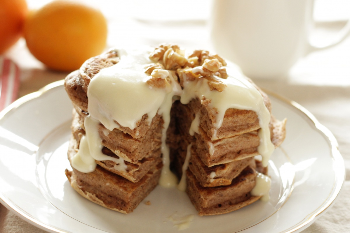 Cinnamon Pancakes with Cream Cheese Glaze ~ Living on Cookies