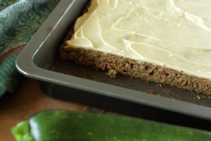 Zucchini Bars with Caramel Frosting