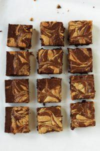 12 peanut butter swirl brownies