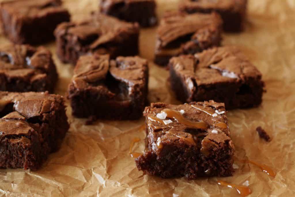 Salted Caramel Brownies ~ Living on Cookies