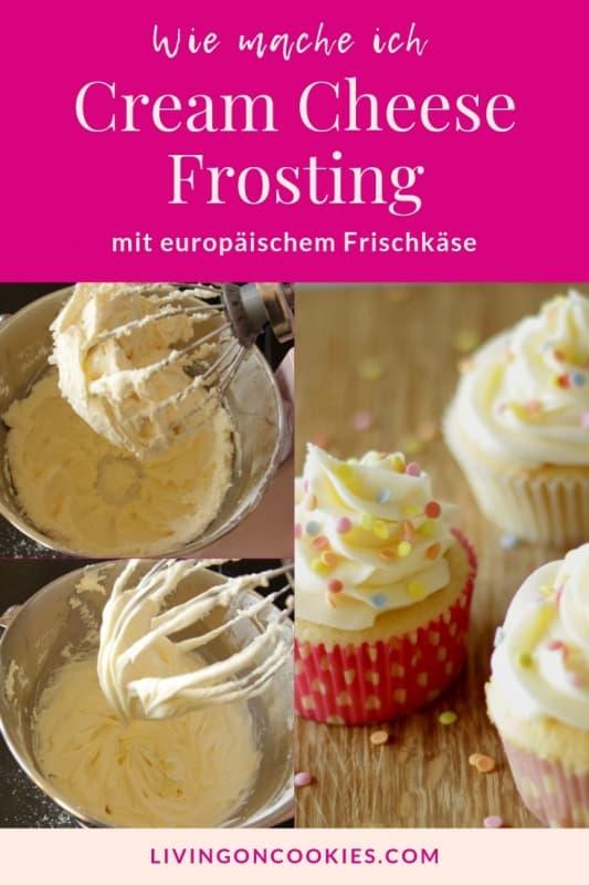 grafik für pinterest in pink mit buttercreme in küchenmaschine und cupcakes mit buttercremetopping