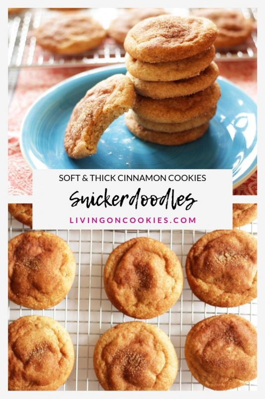 These Snickerdoodles are quite possibly the BEST COOKIES EVER! No exaggeration! They are thick and irresistibly tender cinnamon sugar cookies with characteristic wrinkles and slight tang. You have to try this recipe!