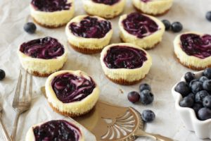 Mini Blueberry-Swirled Cheesecakes