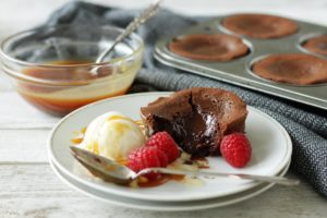Quick Lava Cakes with Salted Caramel Sauce